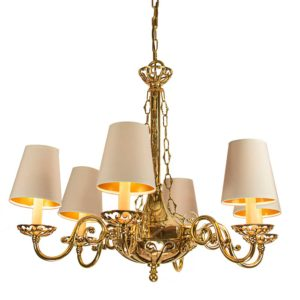 Empire 6 Arm Chandelier by the limehouse lamp c